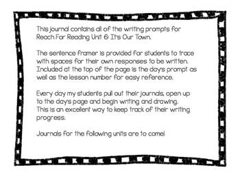 Writing Journal: Reach for Reading Kindergarten Unit 6: This is Our Town!