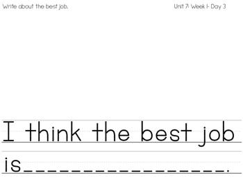 Writing Journal: Reach for Reading Kindergarten Unit 7: On the Job