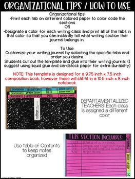 Writing Journal and Notebook Tabs