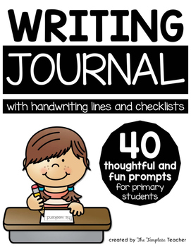 Writing Journal with Sentence Starters and Handwriting Lin