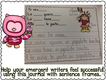 Writing Journal with Sentence Frames FEBRUARY in Spanish