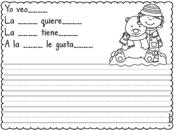 Writing Journal with Sentence Frames January in Spanish