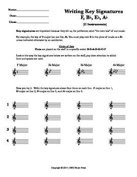 Writing Key Signatures - F, Bb, Eb, Ab