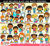 Writing Kids Clip Art Bundle
