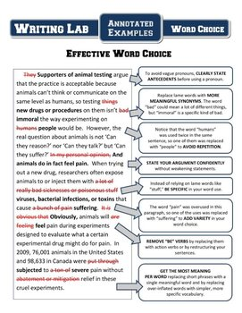 Writing Lab - Word Choice Unit Review Materials