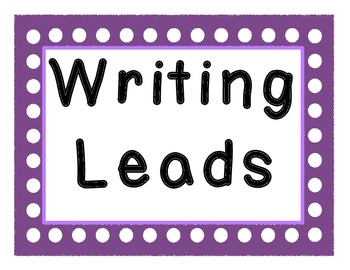 Writing Lead Hook Posters