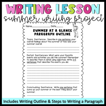 Writing Lesson (Back to School Summer Writing Lesson) -Summer at a Glance