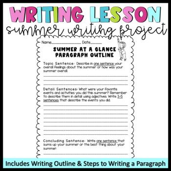 Summer Writing Lesson- Upper Elementary