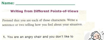 Writing from Different Points-of-View or Perspectives - 2 Worksheets