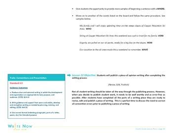 Writing Lesson Plan-Sentence Fluency-Variety of Sentence Starters-4th Grade