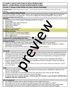Teachers College TC Grade 1 Unit 6 From Scenes to Series Writing Lesson Plans
