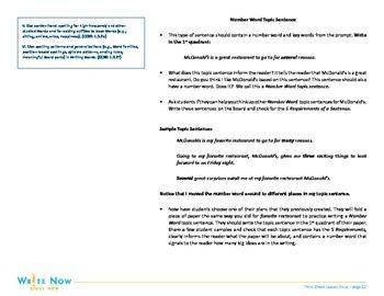 Writing Lesson-Topic Sentences-3rd Grade