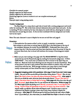 Writing Lesson Using the Bear Report by Thyra Heder Lesson by Lisa Connors