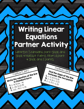 Writing Linear Equations Partner Match Up {Algebra 1}