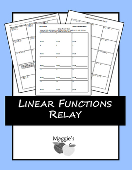 Writing Linear Equation given Two Points, Slope and Point, & Tables Relay (Game)