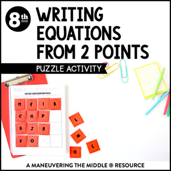 Writing Linear Equations Activity By Maneuvering The Middle Tpt