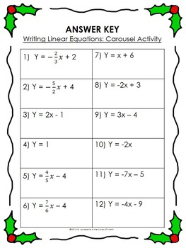 writing linear equations carousel activity by 4 the love of math. Black Bedroom Furniture Sets. Home Design Ideas