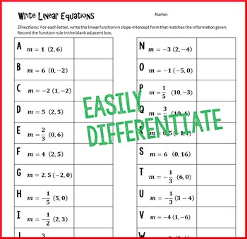 Christmas Algebra - Writing Linear Equations