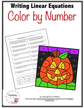 Writing Linear Equations Color by Number Activity - Halloween