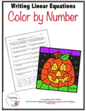 Writing Linear Equations Color by Number Activity Halloween - Distance Learning