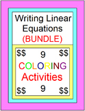 LINEAR EQUATIONS: WRITE LINEAR EQUATIONS BUNDLE - 9 COLORING ACTIVITIES