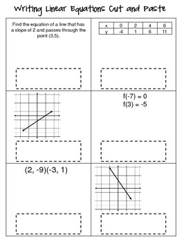 Writing Linear Equations Cut and Paste Activity