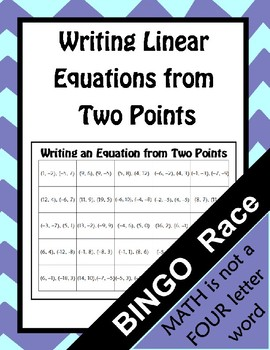 Writing Linear Equations From Two Points BINGO Race