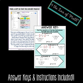 Writing Linear Equations Given 2 Points Digital Interactive Notebook Pages