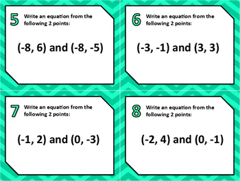 Writing Linear Equations Given 2 Points Sort