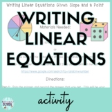 Writing Linear Equations Given Slope and a Point Activity