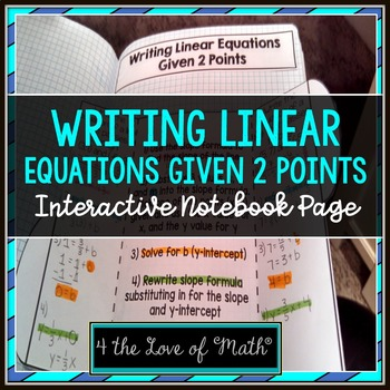 Writing Linear Equations Given Two Points Foldable Page