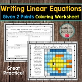 Writing Linear Equations Given Two Points Coloring Worksheet