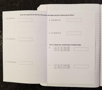 Writing Linear Equations Given Two Points for Interactive Notebooks
