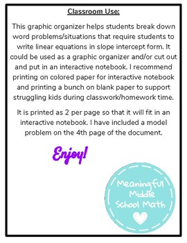 Writing Linear Equations Graphic Organizer