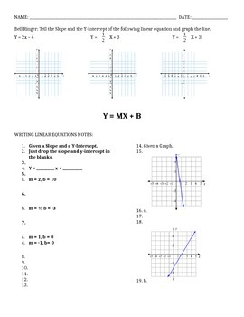 Writing Linear Equations Guided Notes