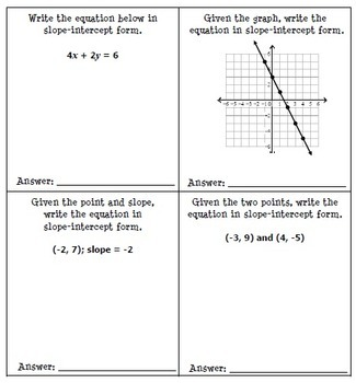 Writing Linear Equations Line Match Activity