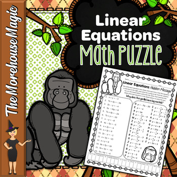 Writing Linear Equations Math Puzzle