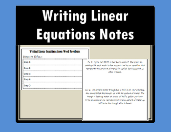 Writing Linear Equations - Notes
