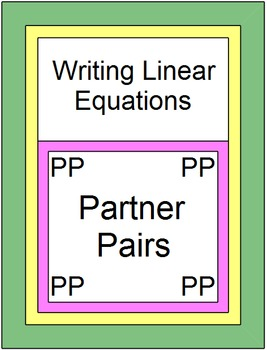Linear Equations - Writing Linear Equations Partner Pairs ZIP (19 Warm upsExits)