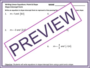 Writing Linear Equations Practice (Point & Slope/Two Points)