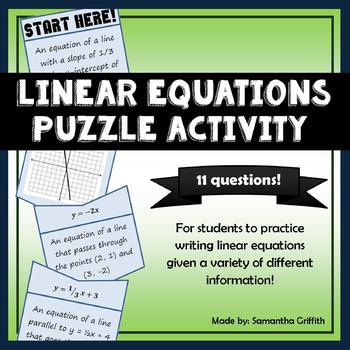 Writing Linear Equations Puzzle Activity