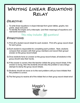 Writing Linear Equations given graphs, tables, scenarios, & more! Relay (GAME)