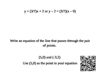 Writing Linear Equations Scavenger Hunt
