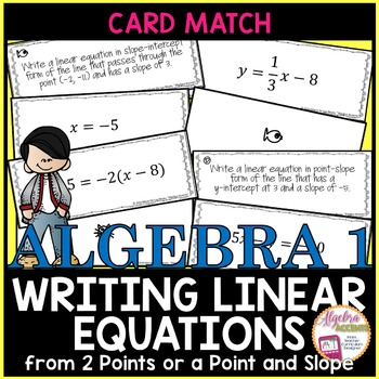 Writing Linear Equations Self-Checking Card Match Activity