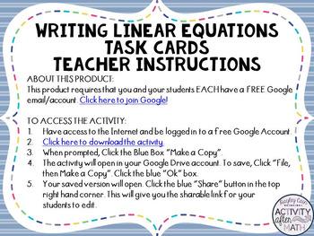 Writing Linear Equations Slope-Intercept Form Task Cards GOOGLE Slide Version
