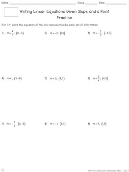 Writing Linear Equations (Slope and a Point) Differentiated Notes and Practice