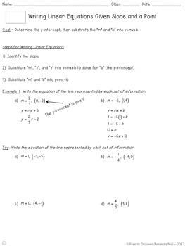 Writing Linear Equations (Slope and a Point) Notes and Practice (Differentiated)