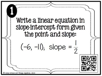 Writing Linear Equations (Given Point & Slope or Two Points) Task Cards
