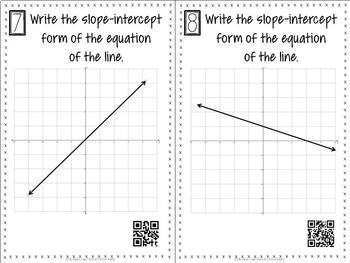 Writing Linear Equations Slope-Intercept Form Task Cards with QR Codes