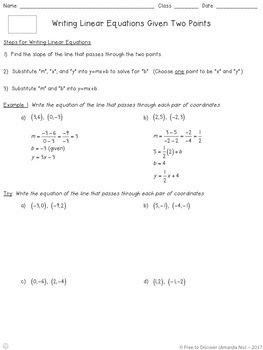 Writing Linear Equations (Two Points) Differentiated Notes and Practice